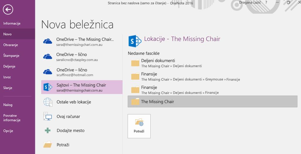 Interfejs za biranje fascikle za novu beležnicu u programu OneNote za Windows 2016