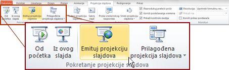 """Dugme """"Emitovanje projekcije slajdova"""" u grupi """"Pokretanje projekcije slajdova"""" na kartici """"Projekcija slajdova"""" u programu PowerPoint 2010."""