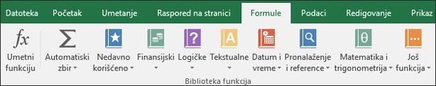 Excel formula kartica na glavnoj traci