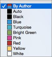 U polju praćenje promena, opcije boje za po autora