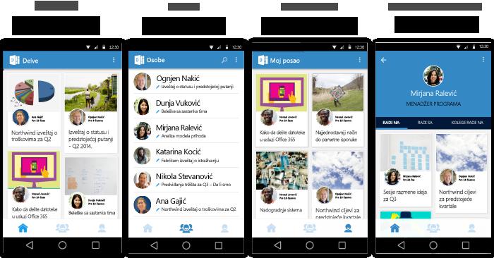 Ekrani usluge Delve za Android