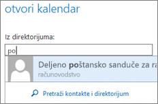 "Outlook Web App – dijalog ""Otvaranje kalendara"""