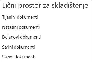 Navedite veze ka uslugama OneDrive korisnika