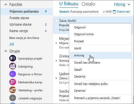 Snimak ekrana prijemnog poštanskog sandučeta, koji prikazuje meni sa kliknite desnim tasterom miša na poruku, uz arhiviranje izabrana.