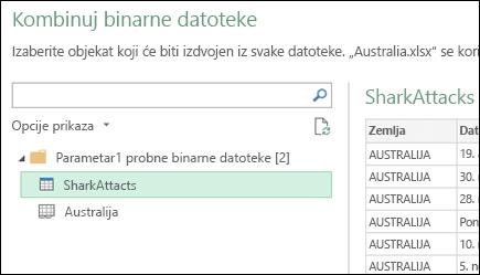 Kombinovanje binarne datoteke dijalog koji prikazuje dostupne Excel radni listovi da biste izabrali primarni konsolidaciju cilj