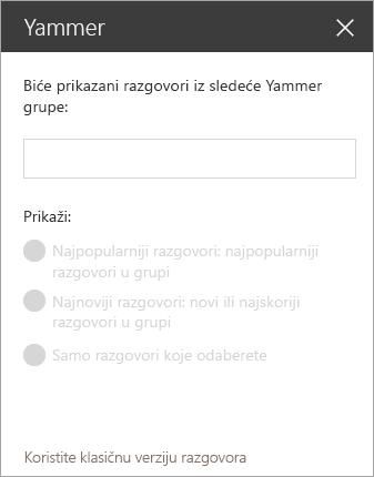 Traka za pretragu na mreži Yammer Veb segment