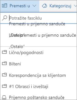 Fokusirani prijemnog poštanskog sandučeta u programu Outlook na vebu