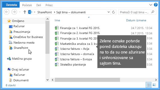 """Koristite """"Istraživač datoteka"""" da biste došli do sinhronizovane datoteke na računaru. Ona se nalazi u fascikli SharePoint."""