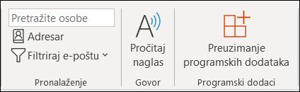 Kliknite na dugme Preuzmi programski dodaci sa trake.