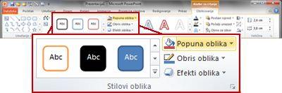 "Kartica ""Oblikovanje"" na traci programa PowerPoint 2010."