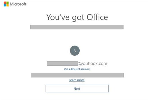 Prikazuje ekran koji se pojavljuje kada kupite novi uređaj koji uključuje licencu za Office. Ovaj ekran ukazuje na to da je Office pronašao postojeći Microsoft nalog.
