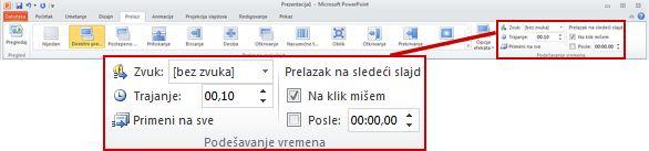"Grupa ""Podešavanje vremena"" na kartici ""Prelazi"" na PowerPoint 2010 traci."