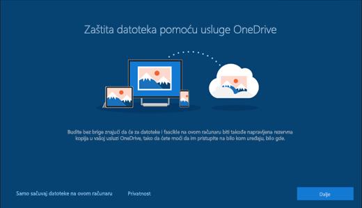 """Snimak ekrana """"Zaštite datoteke uz OneDrive"""" u instalaciji operativnog sistema Windows 10"""