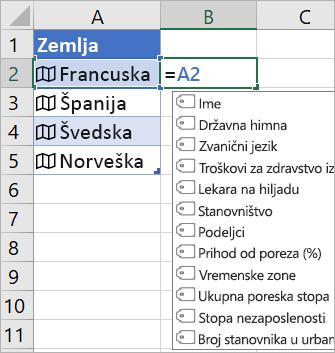 """Ćelija A2 sadrži """"Francuska""""; Ćelija B2 sadrži =A2. i meni za automatsko dovršavanje formule pojavljuje se sa poljima iz povezanog zapisa"""