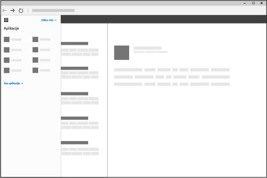 Prozor pregledača sa otvorenim Office 365 pokretanjem aplikacija