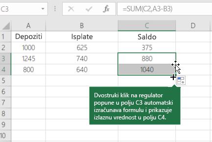 Primer izračunavanja pokrenutog saldo
