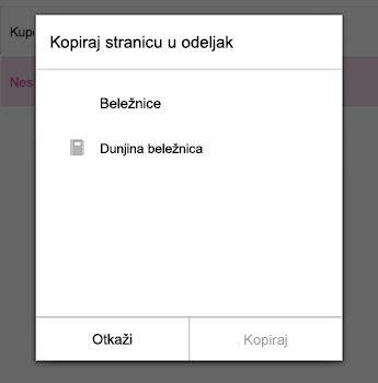U meniju Kopiraj stranicu u programu OneNote za Android
