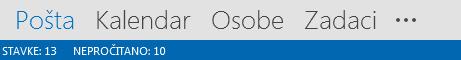"""Kartica """"Osobe"""" na dnu Outlook ekrana."""