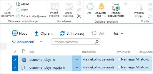 Uređivanje deo trake sa dve izabrane stavke listi