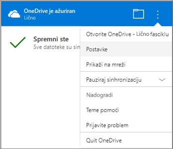 Aktivnosti sinhronizacije OneDrive centrirali više postavki