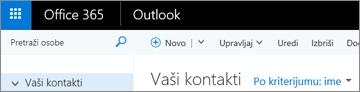 Izgled trake kada imate Outlook na vebu.