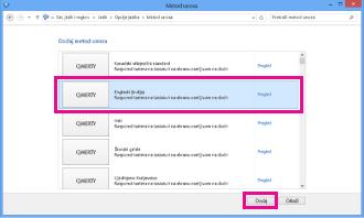 Dodavanje metoda unosa u operativnom sistemu Windows 8