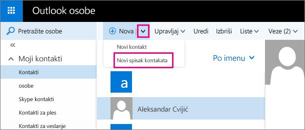 """Snimak ekrana dela trake sa alatkama na stranici """"Outlook osobe"""". Snimak ekrana pokazuje opciju """"Novi spisak kontakata"""" u padajućem meniju """"Novo""""."""