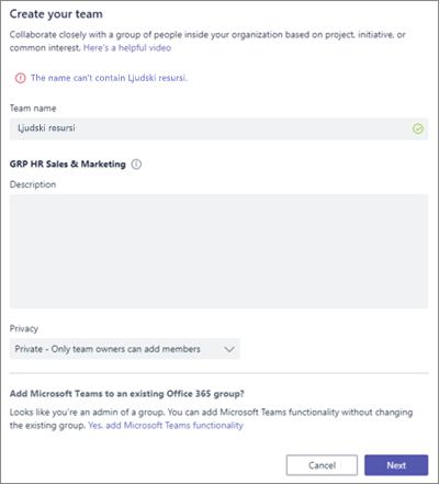 Snimak ekrana: Imenovanja smernica grupe u programu Microsoft Teams blokirani primer