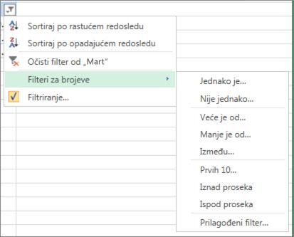 opcije prilagođenog filtriranja dostupne za brojne vrednosti.