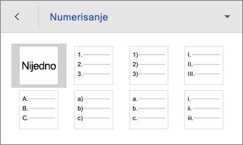 """Komanda """"Numerisanje"""" koja prikazuje opcije oblikovanja"""