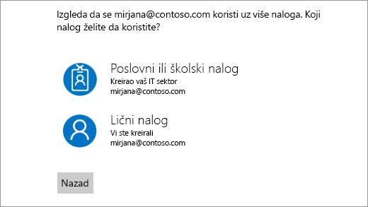 Ekran sa dva e-adresa za prijavljivanje