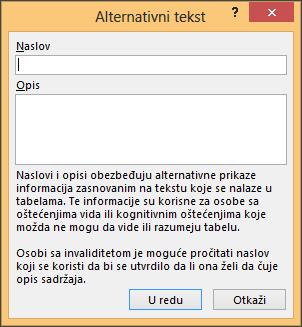 Alternativni tekst dijalog u programu Excel