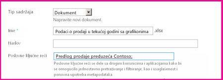 Korisnici mogu da dodaju ključne reči u dijalog svojstva dokumenta