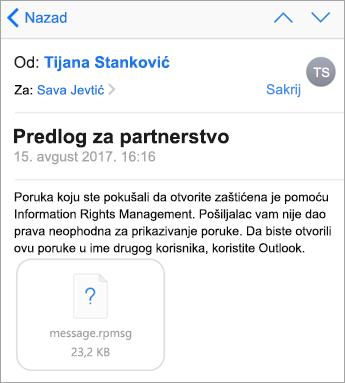Ne možete da vidite zaštićene poruke u aplikaciji iOS pošta ako administrator to nije omogućio.