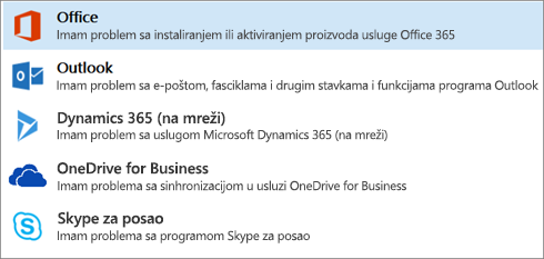 Shows the Office option highlighted in the Support and Recovery Assistant