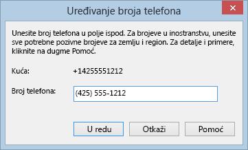 Primer Lync broja telefona koji prikazuje međunarodni format pozivanja