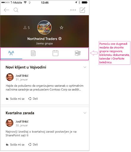 Prikaz razgovora sa grupom u programu Outlook grupe za mobilne uređaje