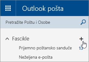 "Snimak ekrana dugmeta ""Kreiraj novu fasciklu"" u usluzi Outlook.com."