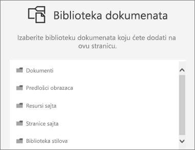 Izaberite biblioteku dokumenata na stranicu