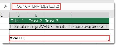 #VALUE! greška u funkciji CONCATENATE