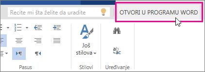 """Stavka """"Otvori u programu Word"""" iz prikaza za uređivanje u usluzi Word Online"""