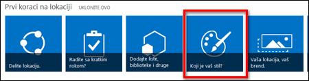 Nova lokacija kreirana u sistemu SharePoint Online prikazuje pločice na koje može da se klikne za dalje prilagođavanje lokacije