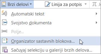 """Izbor organizovanje sastavnih blokova na meniju """"Brzi delovi"""""""