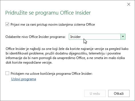 Dijalog za pridruživanje programu Office Insider sa opcijom nivoa Insider