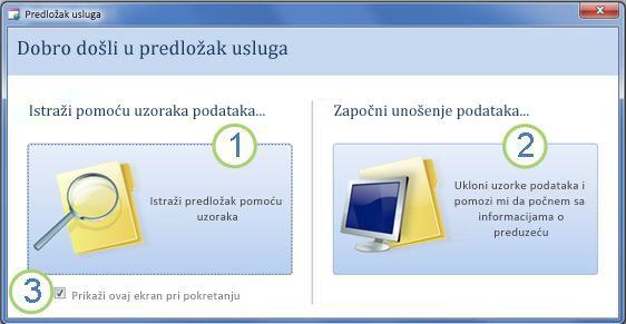 Podrazumevani početni obrazac za predložak Services veb baze podataka