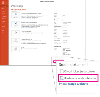 Uređivanje veza ka datotekama