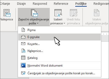 Započinjanje objedinjavanja pošte sa izabranim e-porukama