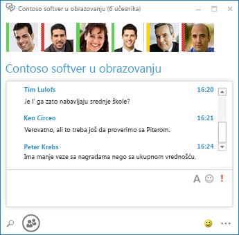 Snimak ekrana neprekidnog ćaskanja sa 6 učesnika