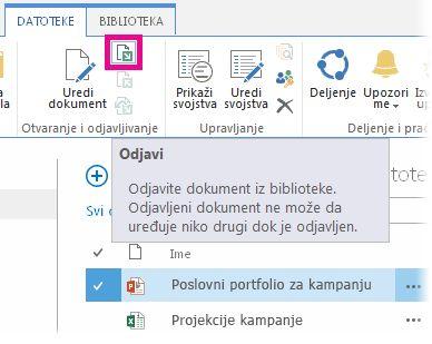 Odjavljivanje datoteke