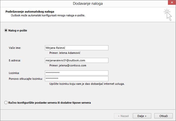 Koristite automatsko podešavanje naloga da biste dodali nalog e-pošte kao deo novokreiranog profila za Outlook